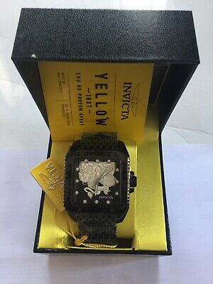 28512 Invicta 46MM CUADRO DRAGON LORD Tripple Black Automatic Bracelet Watch NEW