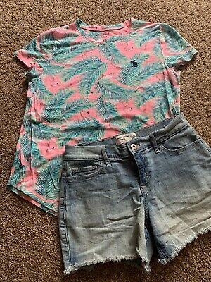 Abercrombie Kids Girls Denim Shorts And Shirt 15/16 Pink Flamingo