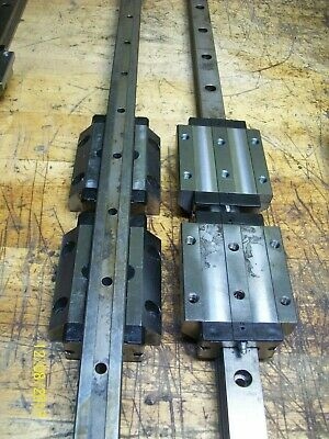 1 Set 4 Rexroth 165331420 Linear Bearing Blocks 2 1115mm Rails 44