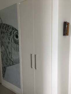 Four white 2-pac tall doors and hinges NEW