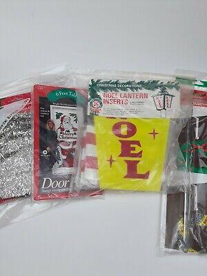 Lot of Vintage Outdoor Christmas Decor Candystripe Ribbon Lantern Post Trim MCM