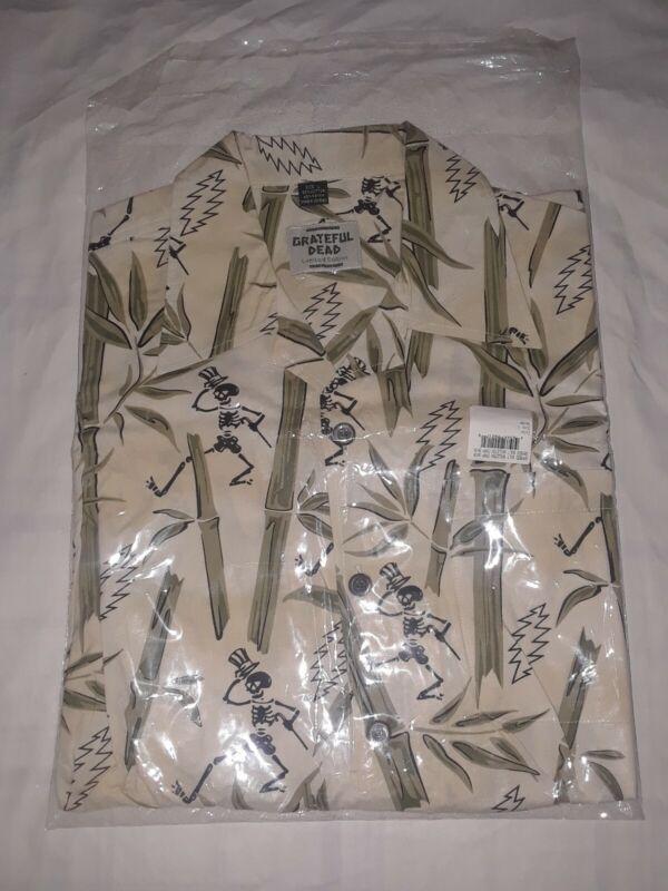 Grateful Dead LARGE Button Up Shirt Dancing Skeletons Lightning Bolts hawaiian