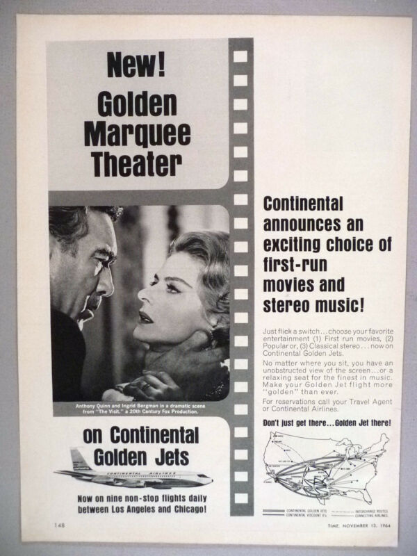 Continental Airlines PRINT AD - 1964 ~~ Golden Movie Marquee Theater