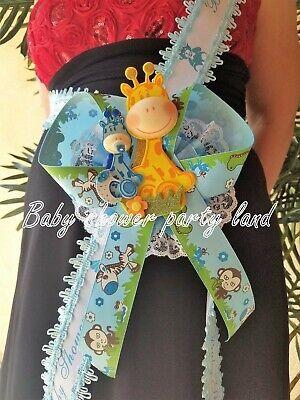 Baby Shower Giraffe ( Baby Shower Mom To Be It's a Boy Sash Giraffe Safari Blue Ribbon Corsage)