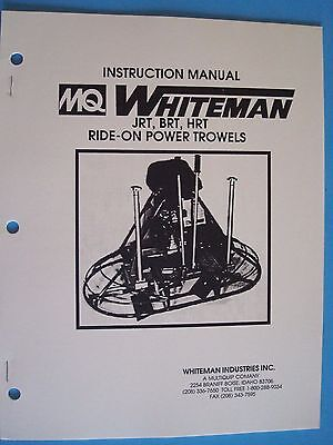 Mq Whiteman Jrtbrthrt Ride-on Power Trowels Instruction Manual