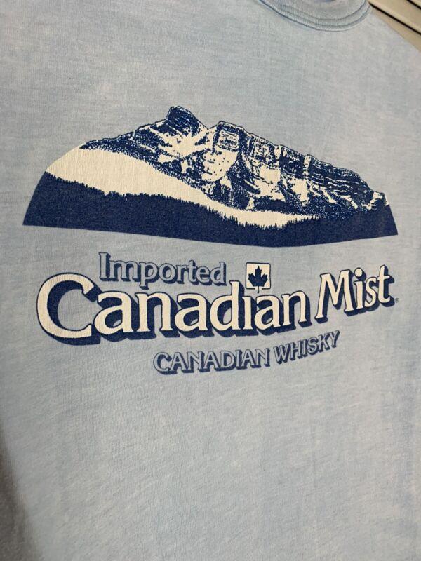 Vintage Canadian Mist T-Shirt Medium K-Studio Blue Single Stitch SS 2-Side As Is
