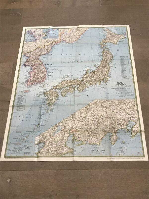 "VTG Original 1970 National Geographic Map of Japan & Korea 1:3.8MM Scale 32""X42"""
