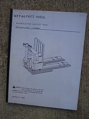 1988 Tcm Wpt-40 Electric Low Lift Truck Parts Manual More Forklift In Store V