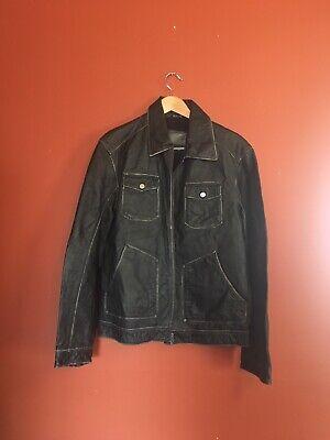 Mens G By Guess Leather Moto Biker Zip Jacket Size L
