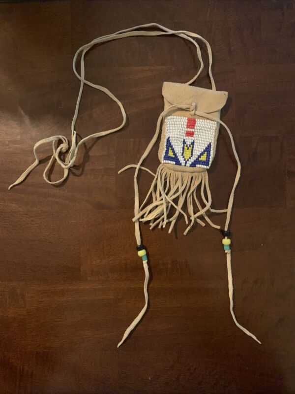 Authentic Beaded Native American Medicine Bag Necklace Leather Possible Pouch