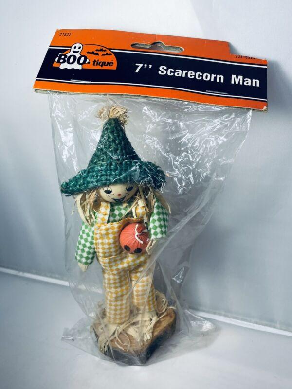"Vintage BOO-tique Halloween 7"" Wooden Primitive Scarecrow With Jack-O'-Lantern"