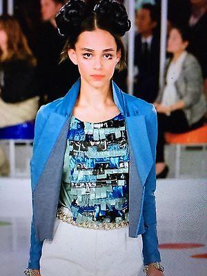 Chanel 16C PARIS-SEOUL NEW Lace Tweed Green Blue Multicolor CC logo TOP FR40 $4K