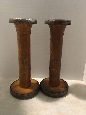 Vintage textile Mill Spool pair