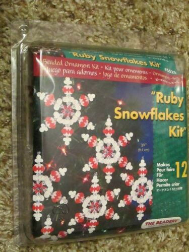 """The Beadery Craft Beads Ruby Snowflakes Ornament Kit Makes 12 #5525 Round 3.75"""""""