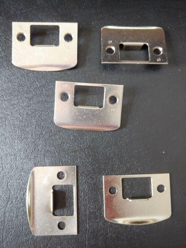 "(5) NEW SCHLAGE STRIKE PLATES 1-5/8"" x 2-1/4"" SQUARE CORNER 619 SATIN NICKEL"