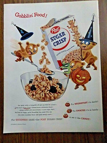 1955 Post Sugar Crisp Ad Gobblin Food Halloween Bears Theme