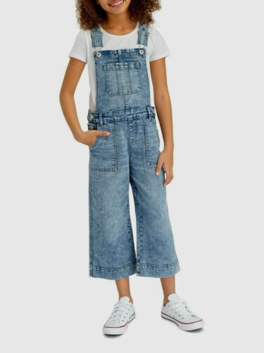 Jordache Crop Overalls Denim Jean Girls L 10/12 Blue Bibs Wide Leg Acid Wash
