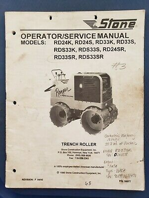 Stone Trench Roller Operatorservice Manual - Ranger Rd24k Rd24s Rd33k Rd33s...