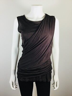 23ae5b189d NEW HEATHER Brown Drapey Sleeveless Blouse Size Small