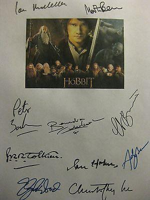 The Hobbit Unexpected Journey Signed Script X10 Ian McKellen Martin Freeman rpnt