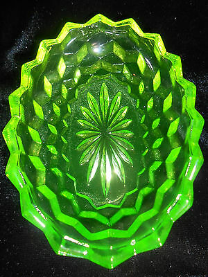 Green Vaseline Glass Jam Jelly Soap Dish American Pattern Uranium Candy Salt Dip
