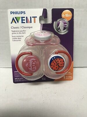 Philips Avent Classic Nighttime Pacifier Glows In Dark  6-18m 3 Pack - Pink M22A