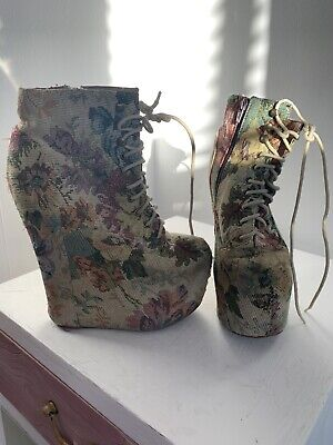 Jeffrey Campbell Floral Tapestry Super-High Wedge Heels  - Size 4 UK 37 EU