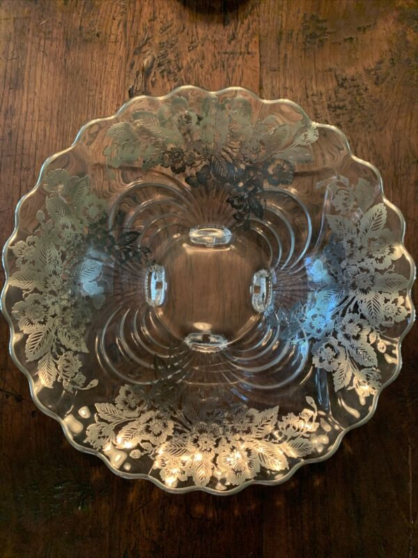 Cambridge Glass Bowl Queen Rose Pattern With Silver Overlay By Silver City 12.5