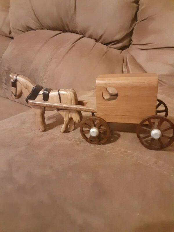 Wooden Horse and Carriage Hand Made Carved western nostalgia