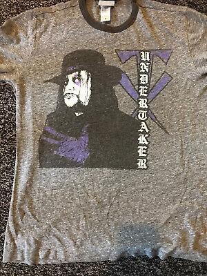 WWE Junk Food Mens Small The Undertaker Tshirt WWF Purple Gloves Used