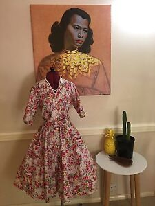Pink flora and roses custom made 50s style dress size 8-10 Paddington Brisbane North West Preview