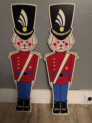 """Pair Of Vintage Christmas Plastic Wall Or Lawn Decorations Toy Soldiers 28"""" High"""