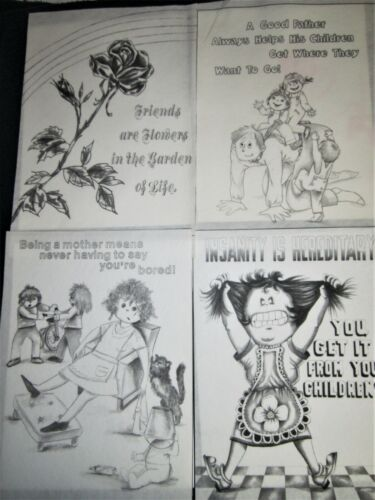 """4 Tri Chem Posters Humor Samplers Mottos 9""""X12"""" Pictures to Paint Mother Father"""