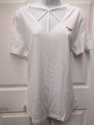 EUC Victoria's Secret White Short Sleeve Birdcage Neckline w/ Silver Design