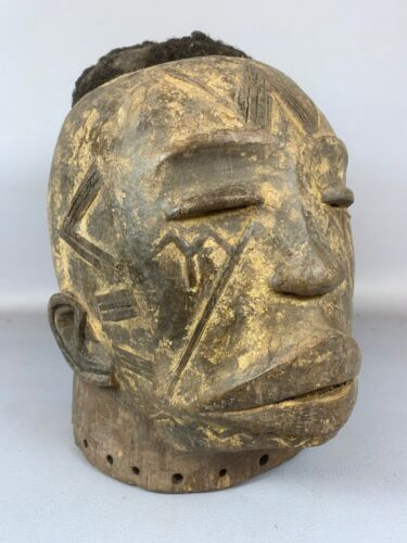 210343 - Rare tribal used Old Makonde helm mask with real hair - Tanzania.