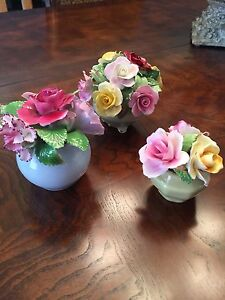 Bone china flowers in a bowl