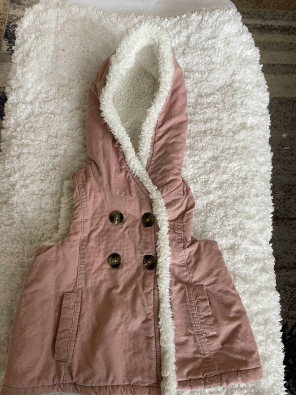 """Aspen Kids girls sz. 18 month pink hooded soft """"fur"""" lined pink corduroy vest. G"""