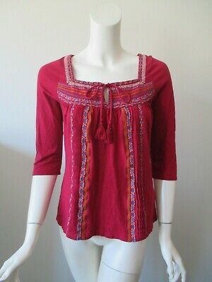 C. Keer Anthropologie Red Embroidered Hobo Tie Neck Cotton Blend Top Shirt S