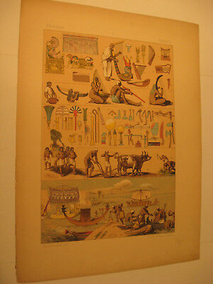 Ägypter 2 Bilder von 1891 Kleidung,Geräte,Kostüm-Antique picture from 1891