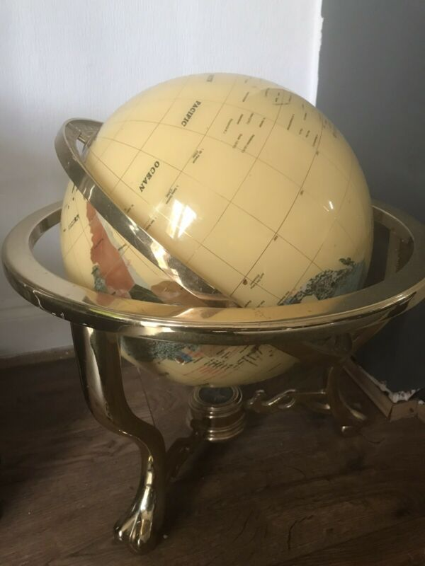 Large Semi Precious Gemstone Globe With Compass