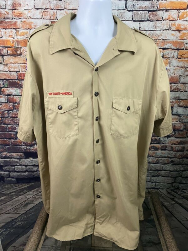 Boy Scouts of America Made In USA Short Sleeve Uniform Shirt 3X-LG w/Patches