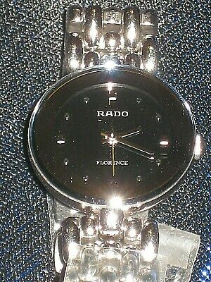 NIB CHIC RADO Florence SWISS wrist watch silver band black round 23mm REDUCED