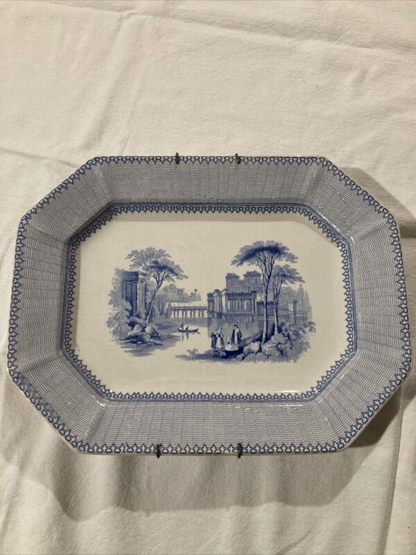 1840s John Ridgway Doris Blue & White Transferware Platter Staffordshire 1844