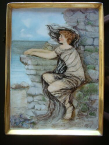 HAND PAINTED LIMOGES FRANCE PLAQUE. WOMAN
