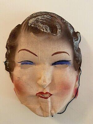 Vintage 1940's Brunette Woman Gauze Halloween Costume Mask