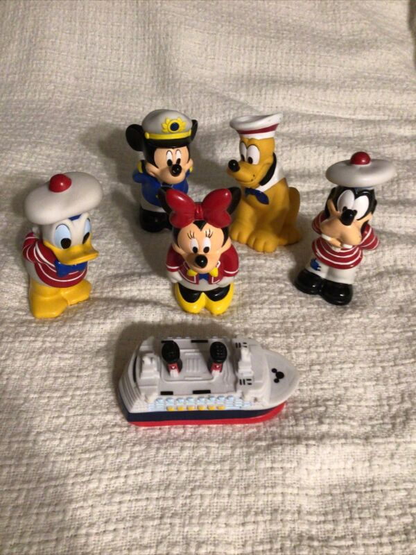 Disney Cruise Line Mickey & Friends 6 Bath Toys W/ Carrying Case Minnie Ship DCL