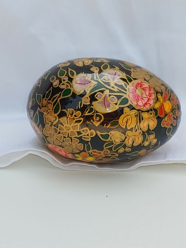 Cloisonne Egg Black With Red/orange/yellow Flowers Hand Decorated