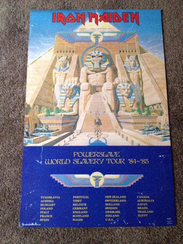 RARE Original Iron Maiden PowerSlave World Slavery Tour Poster Dates 84-85