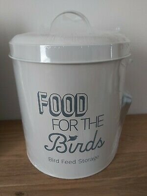 Bird Food Feed Storage Tin & Scoop Metal Birds Feeding Holder Seed Bin Cream NEW