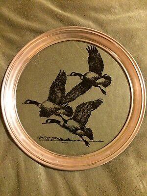 1978 Richard Bishop 13 1/2 Round Plate Of Geese
